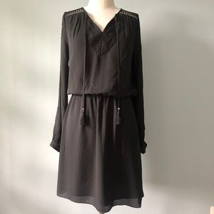 WHBM Black Long Sleeve Soft Boho Dress
